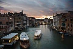 Zonsondergang in Grand Canal, Venetië Royalty-vrije Stock Afbeeldingen