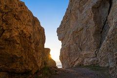 Zonsondergang in Griekenland Stock Afbeeldingen