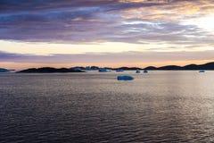 Zonsondergang Groenland stock fotografie