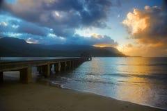 Zonsondergang in Hanalei, het Eiland van Kauai Stock Foto