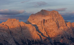 Zonsondergang in het Dolomiet Stock Afbeelding