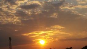 Zonsondergang het eind van een dag Stock Afbeelding