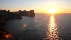Zonsondergang in het GLB DE Formentor, Mallorca stock videobeelden