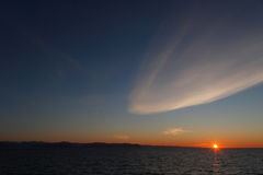 Zonsondergang in het koude noordpoolgebied Royalty-vrije Stock Afbeeldingen