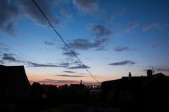 Zonsondergang in het land Royalty-vrije Stock Afbeeldingen
