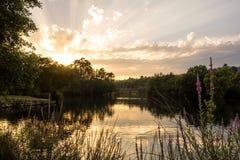 Zonsondergang in het meer Stock Foto
