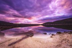 Zonsondergang in het moeras Stock Foto