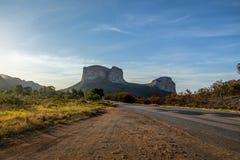 Zonsondergang in het Nationale Park van Chapada Diamantina - Bahia, Brazilië royalty-vrije stock fotografie