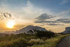 Zonsondergang in het Nationale Park van Chapada Diamantina - Bahia, Brazilië stock foto's