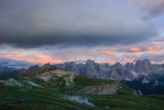 Zonsondergang in het natuurreservaat sciliar-Rosengarten Stock Afbeelding