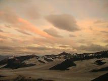 Zonsondergang in het Noordpoolgebied Royalty-vrije Stock Fotografie