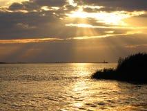 Zonsondergang in het overzees Royalty-vrije Stock Fotografie