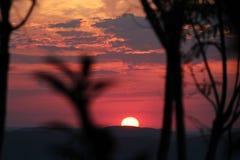 Zonsondergang in het Pampagebied, meest zuidelijke staat van Brazilië Stock Foto's