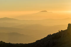 Zonsondergang in het Regionale Park van Madonie Royalty-vrije Stock Fotografie