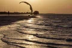 Zonsondergang in het strand in Abu Dhabi Stock Foto's