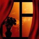Zonsondergang in het venster Royalty-vrije Stock Fotografie