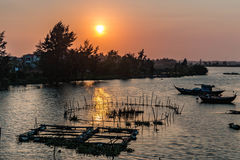 Zonsondergang in Hoian Stock Foto's