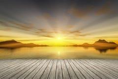 zonsondergang houten pier royalty-vrije illustratie