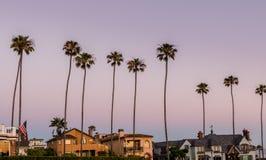 Zonsondergang in Huntington Beach Californië stock afbeelding