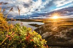 Zonsondergang in IJsland Stock Afbeelding