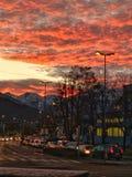 Zonsondergang in Innsbruck Royalty-vrije Stock Foto's