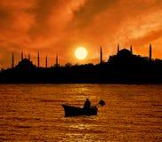 Zonsondergang in Istanboel stock foto's