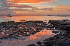 Zonsondergang Jervis Bay Austtralia Stock Fotografie