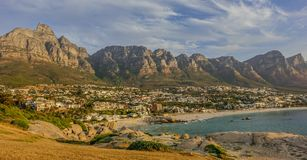 Zonsondergang in Kampenbaai, Zuid-Afrika stock foto