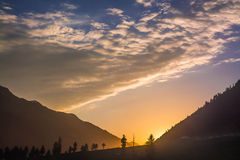 Zonsondergang in Kashmir stock foto's