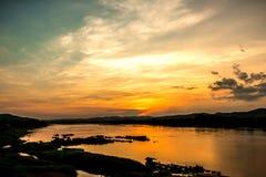 Zonsondergang in khongriver Royalty-vrije Stock Foto