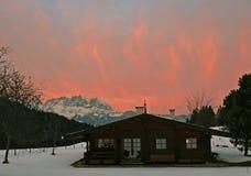 Zonsondergang in Kitzbuhel, Oostenrijk. Stock Afbeeldingen