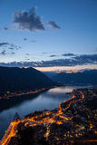 Zonsondergang in Kotor-baai, Montenegro Stock Fotografie