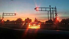 Zonsondergang kruising stock afbeelding