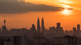 Zonsondergang in Kuala Lumpur Royalty-vrije Stock Fotografie