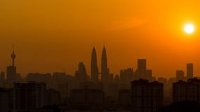 Zonsondergang in Kuala Lumpur Royalty-vrije Stock Afbeelding