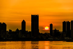 Zonsondergang Kwun Tong Stock Afbeeldingen