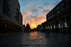 Zonsondergang in La Valletta Royalty-vrije Stock Afbeeldingen