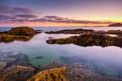 Zonsondergang in Laguna Beach, Californië royalty-vrije stock foto's