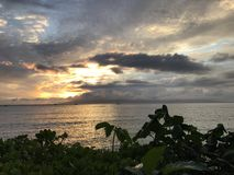 Zonsondergang in Lahaina, Maui Stock Fotografie