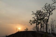 Zonsondergang in Lan Kang Pai-canion Pai, Thailand Stock Foto