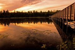 Zonsondergang langs Vicki Barron Lakeside Trail stock afbeeldingen
