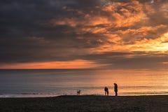 Zonsondergang in Levanto Stock Afbeelding