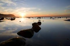 Zonsondergang in Llandudno. Wales Stock Fotografie
