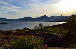 Zonsondergang in Lodingen, Noorwegen Royalty-vrije Stock Afbeeldingen
