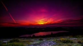 Zonsondergang in Maine Royalty-vrije Stock Afbeeldingen