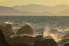Zonsondergang in Makara, Nieuw Zeeland royalty-vrije stock fotografie