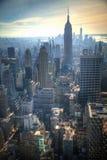 Zonsondergang in Manhattan, New York Stock Foto's