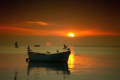 Zonsondergang in Meer royalty-vrije stock afbeelding