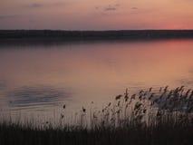 Zonsondergang in meer wordt weerspiegeld dat Stock Afbeelding