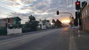 Zonsondergang in Melbourne Australië stock afbeelding